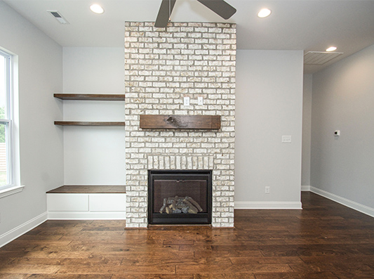 Redwood Living Room Fireplace
