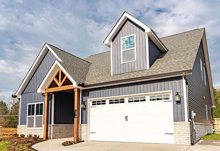 Redwood Exterior Front View + Garage