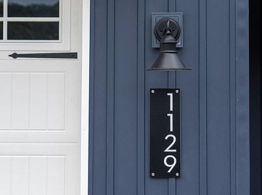 Willow Modern Exterior Lighting + Address Plaque
